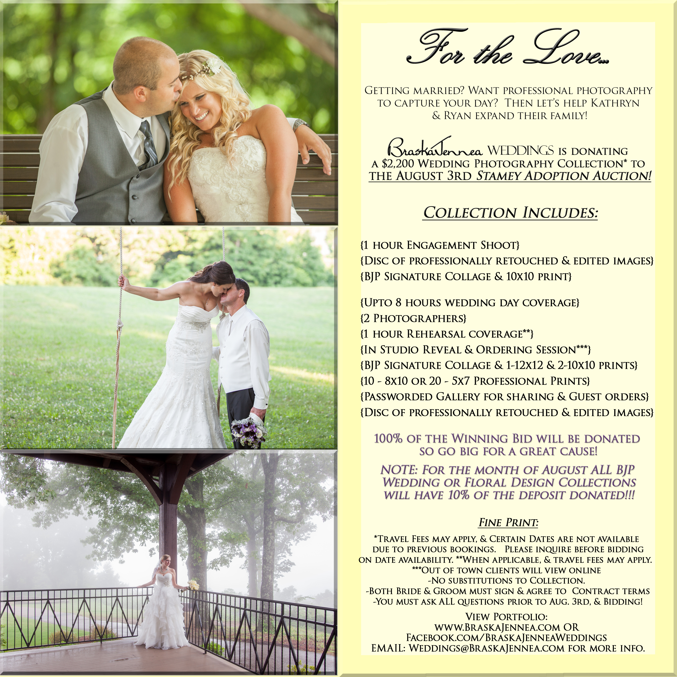 Stamey Adoption Auction Flyer Win A Wedding Photography Package Athens TN Photograher