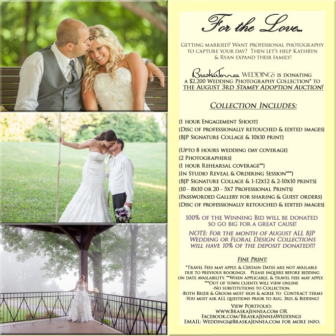 Stamey Adoption Auction Flyer - Win A Wedding Photography Package - Athens, TN Photograher