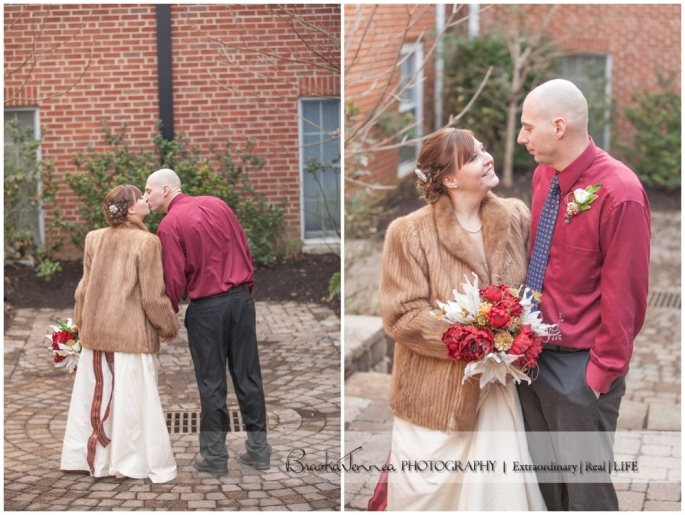 A cold snap for Meg + Jason's New Year's Eve Wedding led to her friend's grandmother lending her her fur coat for her wedding day to keep warm! Beautiful!